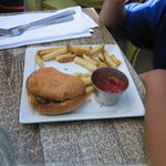 Kid's burger is like a slider on a and the fries smell like fish.  Suspecting that they fry in t