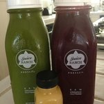Greens 'n Ginger, and La Ensalada, with Immunity Booster in front