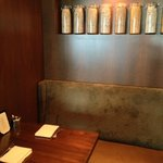 One of the booths lining the walls of the restaurant