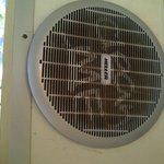 Filthy fan in common bathroom