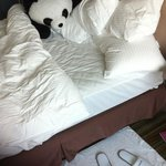 very firm bed, but lots of very soft pillows - and a panda for company!