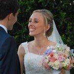 Happy bride at Fig Tree garden wedding