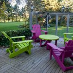 Colourful patio chairs