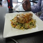Roast chicken roll and fried rice