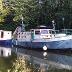 Boats moored on canal