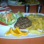 Beef Fillet (rare) with chips and salad