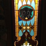 One of the awesome stained glass windows at the Chapel at Dog Mountain