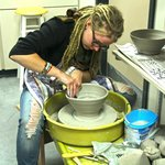 Sarah Cheetham, an Artist in Residence here at the Centre, works her magic on the pottery wheel.