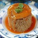 Baodao sticky rice with pork sauce