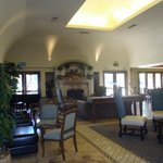 Inside dining in lobby. Breakfast buffet set up here daily
