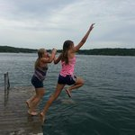 Swimming off the boat dock