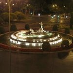 View of the fountain from my room at night
