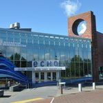 The front of ECHO Lake Aquarium and Science Center on a sunny day, on the Burlington waterfront.