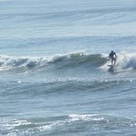 Solo surfer riding the waves