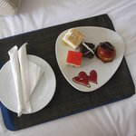 Complimentary desserts for our honeymoon stay