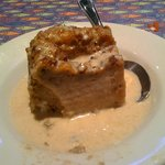 Warm bread and butter pudding with whisky cream sauce, yummmmy!