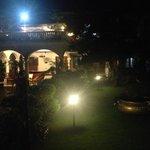 Veiw from balcony overlooking reception and garden