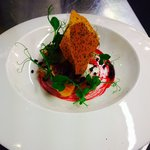 Beetroot, Fig, Candied Apple & Goats Cheese with a Balsamic & Poppy Sees Biscuit