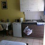 Fridge, cooker, sink