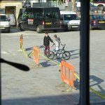 Roadworks barriers and yellow tape kept skateboarders and bikers amused all afternoon
