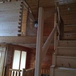 Temporary railing on new stairs up to loft and new playroom