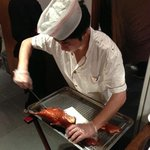 skillful server to un-skinned the duck :-)