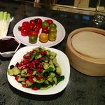 side dishes: fresh cherry-tomatoes and pickles