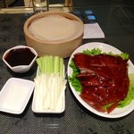 the famous roast duck, with scallion and tortilla-like wrap.