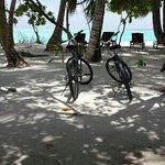 notre plage privée a vec nos velo....