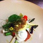 Asparagus, duck egg, Parmesan, tomato, burghul