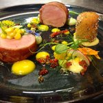 Pork fillet, jamon, corn, avocado, lemon curd, wild radish