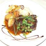 Steak with snail ragout