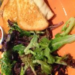 The most amazing grilled cheese and salad from attached restaurant
