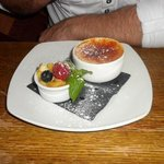creme brulle & tropical fruit salad