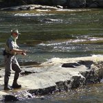 Flyfishing in the Tuskasegee River next to the inn
