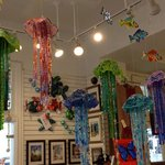 LOVE the glistening glass art pieces, especially these jellyfish!!
