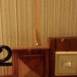 Interrupteur vieillot et papier peint déchiré