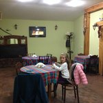 the breakfast area, where a lot of antiques belong to the family heritage are displayed