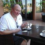 having (expensive) mint tea on restaurant balcony