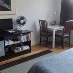 Room setup, fridge, fan, tv, desk
