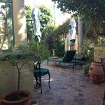 the view in the courtyard at breakfast
