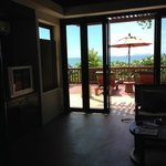 A view from the living room to the balcony and the view to th eocean and Phi Phi