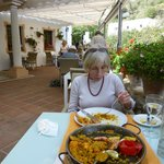 Excellent paella on the restaurant terrace