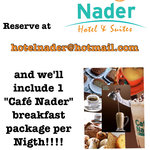 Reserve thru hotelnader@hotmail.com and we`ll include 1 breakfast package for every nigth you st