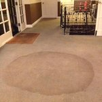 Stain on carpet at entrance from parking area