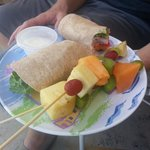 Ham and organic cheese wrap w/fresh fruit kabobs
