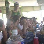 Players enjoying breakfast