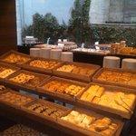 Breakfast buffet breads.