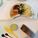 Salmon, califlower, scalloped potatoes