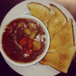 Homemade beef stew and toast